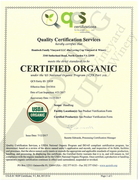 Loving Cup Vineyard and Winery | Certified Organic Certificate